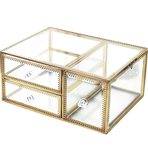 Antik stapelbar geräumiges Glas Make-up-Box/Schublade Organizer/Kommode Kosmetik Aufbewahrung/Jewelry Schale Bad Accessoires Set Display/Halterung für Vanity/Halskette/Ohrringe/Parfums/Pinsel Gold Klar