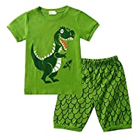 Gorgeya Boys Pyjamas Kids Pjs Digger Print 100% Cotton Boys Outfits Short Sleeve 2 Pieces Sleepwear Children Summer Set Clothes 1-7 Years