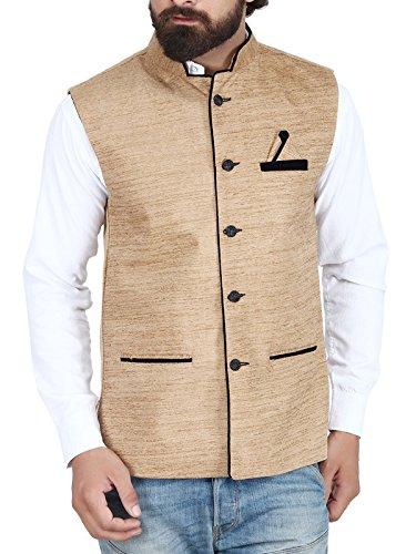 BIS Creations Golden Men's Waistcoat - Nehru Jacket