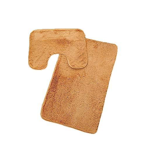 TOWAKM Boden Teppich,3pc Badezimmer Set Teppich Contour Mat Toilettendeckelbezug Plain Solid Color Badvorleger (Orange)