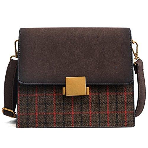 Preisvergleich Produktbild Frauen Messenger Bags Mode Schlösser Umhängetasche Retro Plaid Portable Kleine Quadratische Tasche Wild Datierung Handtasche,A-OneSize