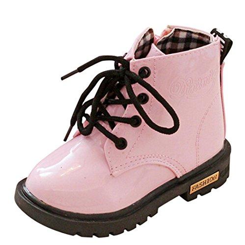 Zapatos para niños Moda Niños Niñas Martin Sneaker Botas de Nieve Gruesas de Invierno Zapatos Casuales para bebés Zapatos Antideslizantes Suaves LMMVP (23(1.5-2T), Rosado)