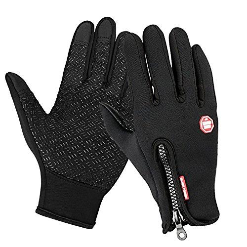 Speedrid Radfahren Handschuhe, Touchscreen Outdoor Sport Winter Bike Handschuhe, Wasserdicht Ajustable Größe Vollfinger Für Laufen Fahren Skifahren Skating Klettern (Schwarz, Groß)