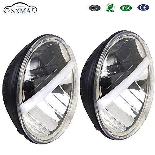 SXMA 17,8 cm Blanc DRL ronde phares LED avec faisceau haute//basse 1 paire