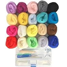 Misscrafts Lana de fieltro de 20 colores para coser a mano y coser para fieltro de agujas y materiales DIY, de fibra de lana
