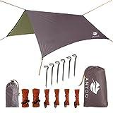 Anyoo Ripstop Regen Schutzdach Strand Zelt Hängematte Sonnenschutz 3×3 m Leichter Wasserdichter Schutz Für Camping Wandern Backpacken