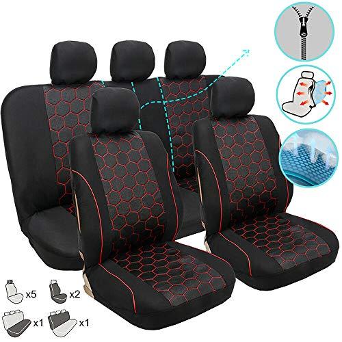Coprisedili per auto, protezione per i sedili, per sedile anteriore + posteriore, colore nero