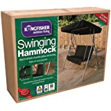 2 Seater Swinging Hammock Bench Seat with Canopy - Garden Swing Seat with Canopy and Seat Pad - Black