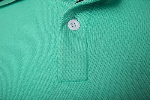 Fengshang Herren Slim Fit Kontrast Farbe Kurzarm Polo Shirt Light Green Black
