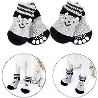 Vibury Calcetines Antideslizantes para Mascotas, Control de tracción para el Uso en Interiores, Protectores de Patas para Perros Gatos (XS)