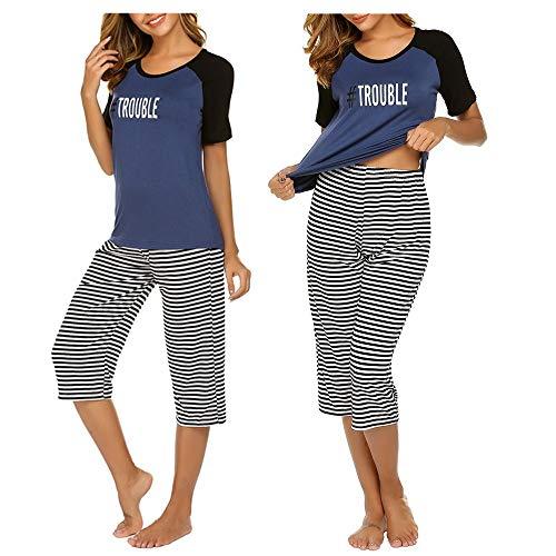 Unibelle Damen Schlafanzug Kurzarm Sommer Pyjama Nachtwäsche Hausanzug 3/4 Lange Hose Rund Ausschnitt S-XXL (Damen-pyjama)