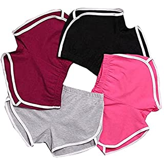 AFUT Sport Fitness Shorts Pyjama Summer Beach White Outline Active Lounge Shorts Women Girls Hot Casual Pants Running Workout Wine Red M
