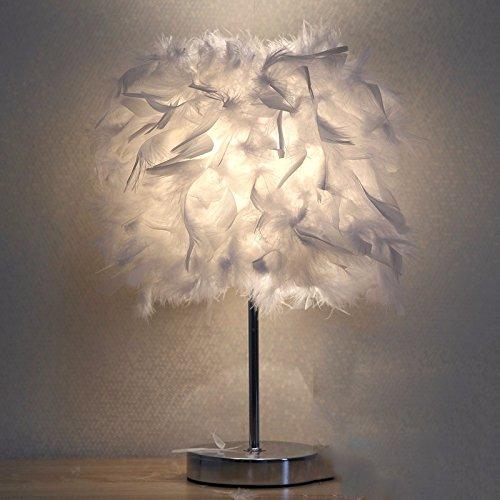 XHOPOS HOME Tischleuchte Feder Lampen Schlafzimmer Nachttisch Lampen minimalistisch Modern warmes Licht 25 cm weiß Schalter - Asiatische Tischleuchte