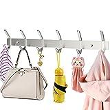 HOMEMAXS Hakenleiste Kleiderhaken mit 6 Haken Edelstahl Garderobenhaken Garderobenleiste für Jacken Kleidung Mütze Gürtel Schlüssel, 43 cm