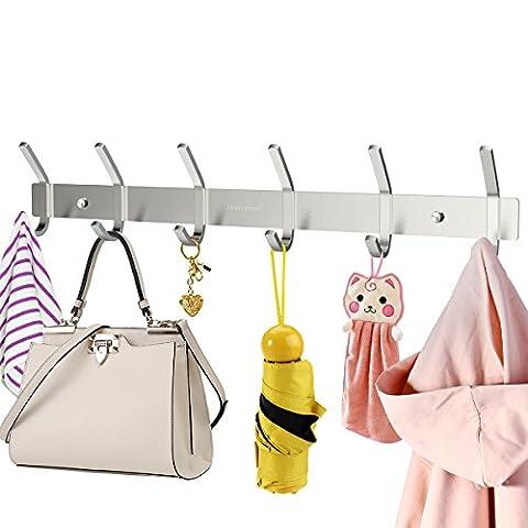 HOMEMAXS Hakenleiste Kleiderhaken mit 6 Haken Edelstahl Garderobenhaken Garderobenleiste für Jacken Kleidung Mütze Gürtel Schlüssel, 43