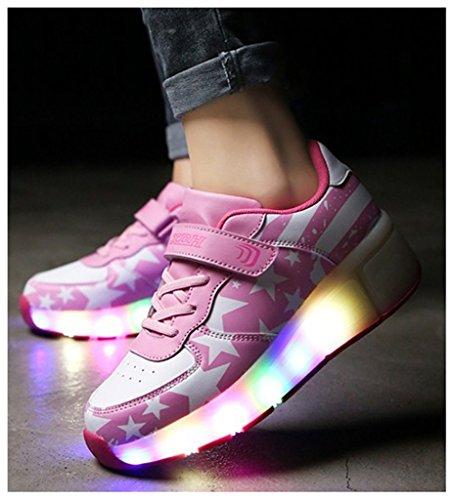 NEWZCERS Enfants unisexes 7 couleurs LED chaussures clignotant chaussures de sport chaussures patins à roulettes chaussures Rose