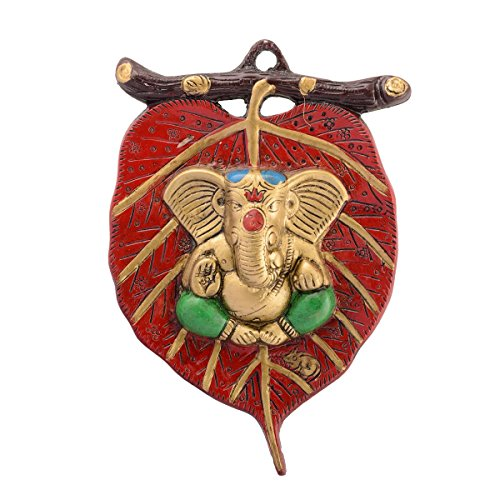 eCraftIndia Lord Ganesha in Green Dhoti on Red Leaf Wall Hanging