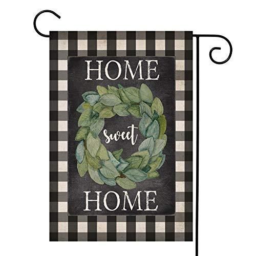 YOENYY Home Sweet Home Magnolienkranz Gartenkranz klein Buffalo Farmhouse Jute, vertikal, doppelseitig, 31,8 x 45,7 cm (Winter-kranz Sackleinen)