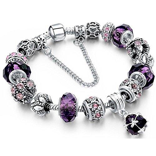iceblueor Fashion Perlen-Armband Handarbeit Geschnitzt Sterling Silber vergoldet Schlange Kette Charm Armband für Frauen Teen Mädchen 19,5cm (lila) (Vergoldet Geschnitzt)