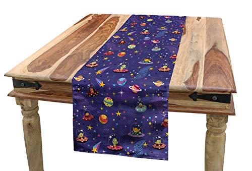 ABAKUHAUS Ausländer Tischläufer, Space Charaktere Galaxie, Esszimmer Küche Rechteckiger Dekorativer Tischläufer, 40 x 225 cm, Mehrfarbig