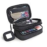 TRAVELMALL multifuncional 2capa Make Up Bolsa Negro cosmética maquillaje cepillo organizador con asa de transporte para viajes y casa