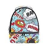 tizorax Comic Sprechblasen Bang. Boom. Lunch Bag Isolierte Lunch Box Picknick Tasche Schule Kühltasche für Männer Frauen Kinder