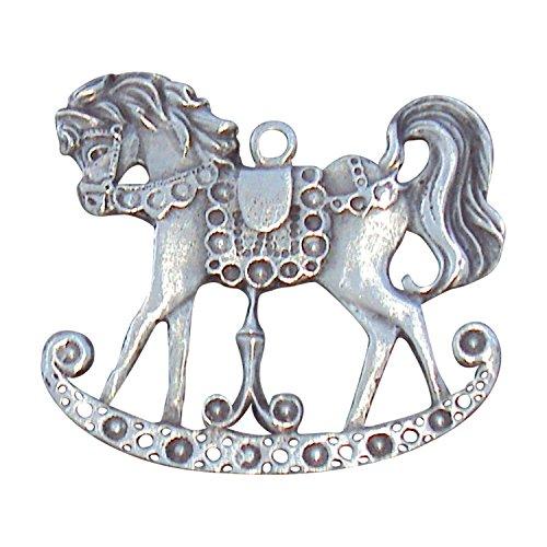 Zinngeschenke Schaukelpferd Antik aus Zinn patiniert (HxB) 5,0 x 5,0 cm, Christbaumschmuck