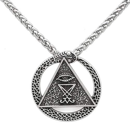 DADATU Halsketten für Herren Kirche des Satans Charme Pagan Wiccan Talisman All Seing Eye Amulet Sigil of Lucifer Snake Pendant Halsketten (Snake Eye Kostüme)