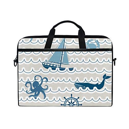 Ahomy 14 Zoll Laptoptasche, nautische Meereswelle Carb Octopus Seaship Canvas Stoff Laptop Tasche Bussiness Handtasche mit Schultergurt für Damen und Herren
