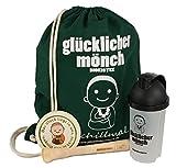 glücklicher mönch Bioeistee - exklusives Starterpaket mit Turnbeutel, Mixshaker, Stößel und Glücksdeckel