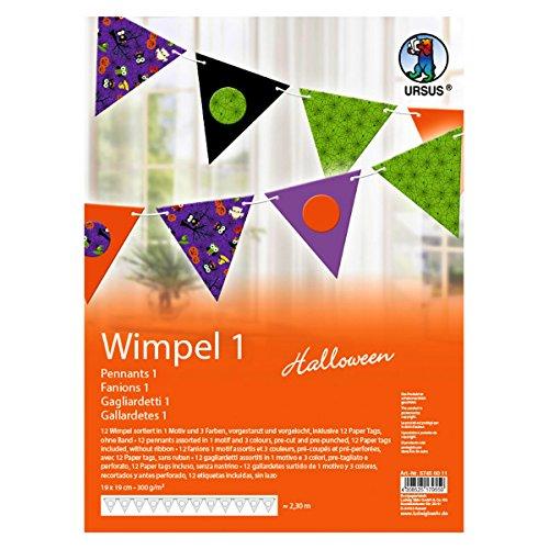 Ursus 57450011 - Wimpel Halloween, dreieckig, 12 Stück in verschiedenen Farben (Für Basteln Halloween Hexe)