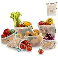 COMLIFE Bolsa de la Compra de Red Reutilizable Malla de Algodón Ecológica Lavable a Máquina Plegable y Resistente para Guardar Frutas, Verduras,etc -Kit de 9 Bolsas, 3 Tamaños