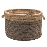 Colonial Mills Chunky Nat Wool Dipped Basket, 14 by 10-Inch, Dark Gray/Beige