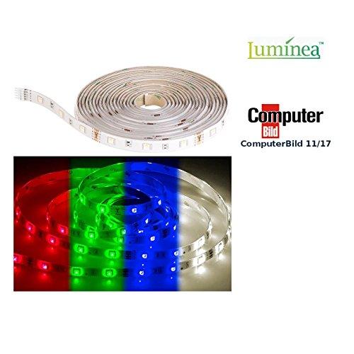 Luminea Zubehör zu LED WLAN: RGBW-LED-Streifen LAX-515, 5 m, 840 Lumen, warmweiß, dimmbar, IP44 (LED Streifen Set)