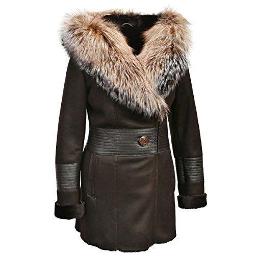 Lammfelljacke - SERINDA kurz Damen Lammfelljacke Lederjacke Winterjacke Fuchs Größe M, Farbe Braun