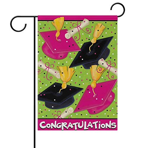 ASKYE Congratulations Graduation Cap Garden Yard Flag Double Sided, Celebrate Confetti Graduation Season Decorative Garden Flag Banner for Outdoor Home Decor Party(Size: 28inch W X...