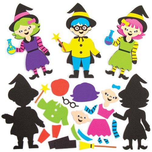 Baker Ross Mix & Match-Deko-Magnete Hexe und Zauberer als lustiges Spielzeug für Kinder zum günstigen Preis - perfekt als kleine Party-Überraschung für Kinder zu Halloween (6 Stück)