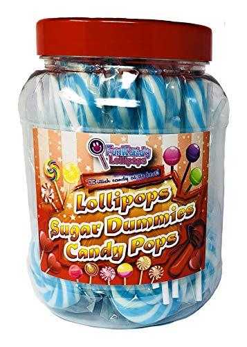 Code 0924 Fun Kandys fruchtiger Wirbel aus blauen und weißen Lutschern 25-er Packung