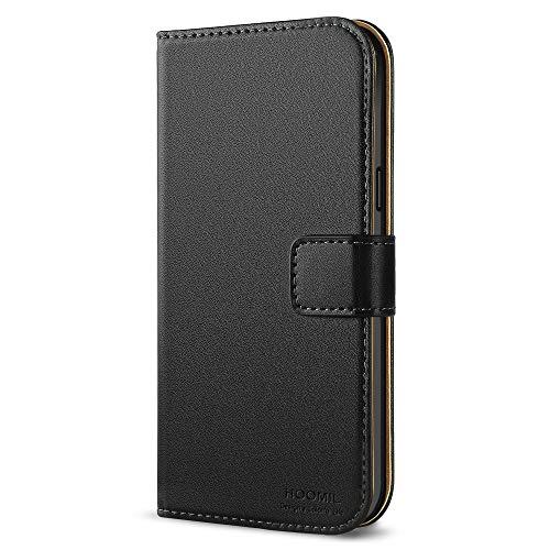HOOMIL Galaxy S5 Mini Hülle, Premium Handy Schutzhülle für Samsung Galaxy S5 Mini Hülle Leder Wallet Tasche Flip Brieftasche Etui Schale (H3010, Schwarz)