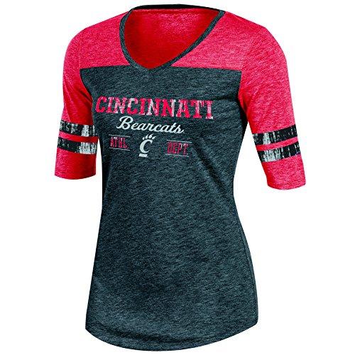 Life Womens Cap Sleeve T-shirt (Champion NCAA Damen Trend Captain Half Sleeve V-Neck Tunika Tee, Damen, NCAA Women's Trend Captain Half Sleeve V-Neck Tunic Tee, Schwarz/Erika, X-Small)