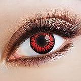 aricona Farblinsen – deckend mit rotem Horror Muster – farbige Kontaktlinsen mit Motiv – bunte, farbig intensive schwarz rote Jahreslinsen für Halloween & Cosplay