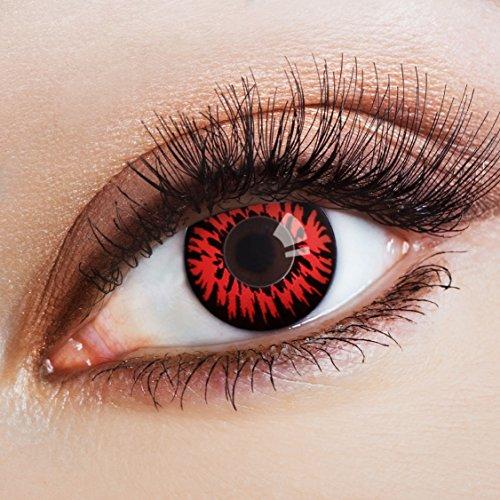 aricona Kontaktlinsen Farblinsen - deckend mit rotem Horror Muster - farbige Kontaktlinsen mit Motiv - bunte, farbig intensive schwarz rote Jahreslinsen für Halloween & Cosplay