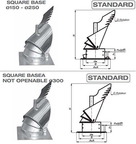 En acier inoxydable Cheminée Rotowent Dragon Base carrée 200mm