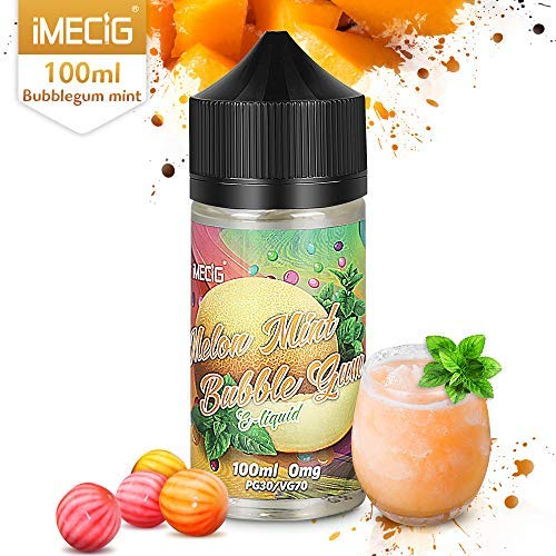 IMECIG 100ml E líquido Ice Melon Bubblegum Liquido Vaper Para Cigarros electronicos 70/30 E Liquid Cigarrillo Electronico Premium Sabores Vapeador 0mg Nicotina