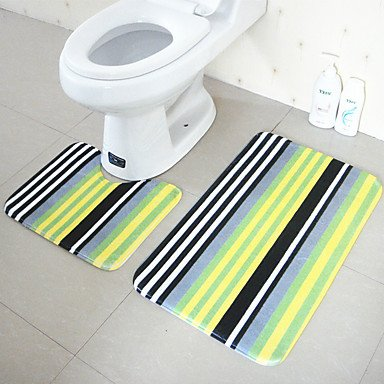 Modernen Stil Polyester 2 Stück Badteppiche festgelegt (u-Form Badteppiche, rechteckige Badteppiche) , yellow
