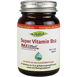 Super Vitamin B12 - 60 Lutschtabletten - 1000 µg Methylcobalamin hochdosiert mit Erdbeergeschmack als vegane Lutschtablette - Sublinguale Aufnahme - Von Dr. Hittich