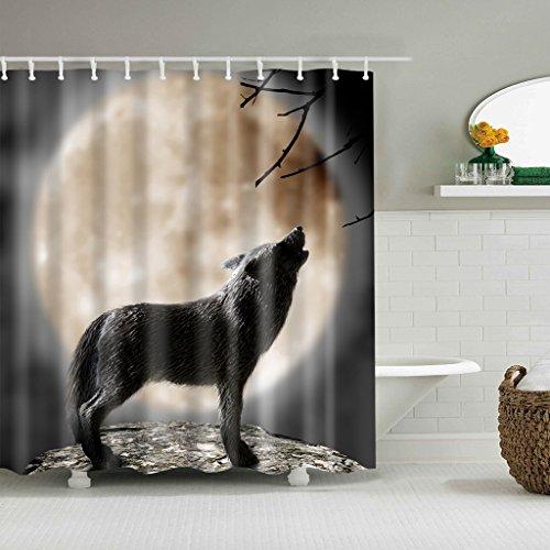 GUBENM Duschvorhang, Halloween-Wolf Howling Moon Funktionstextilie Dusche Vorhang Badezimmer Dekor Set (Vorhang-set Halloween-dusche)