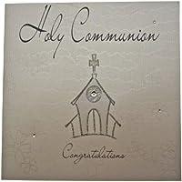 "White Cotton Cards WB104 - Tarjeta de felicitación para primera comunión, diseño de iglesia con texto ""Holy Communion Congratulations"", color blanco y plateado"