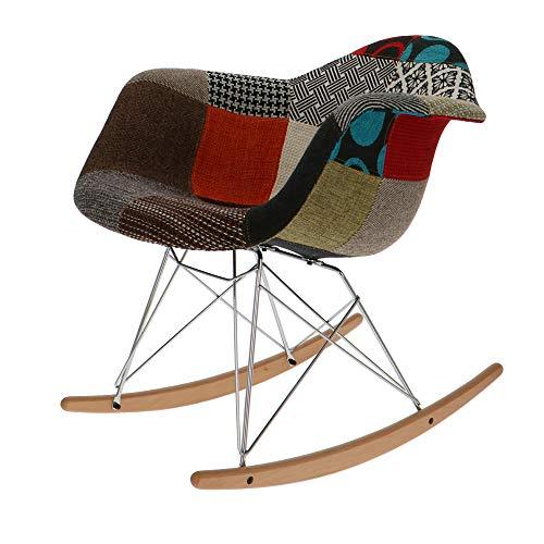 Popfurniture POP Designer RAR Schaukelstuhl - Schwingsessel, Schaukelsessel, Schwingstuhl aus Metall, Kunststoff und Ahornholz   65 x 62 x 69 cm   Patchwork