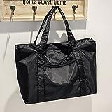 Our simple leisure large capacity bag shoulder bag black portable bag student bag bag female literature,black